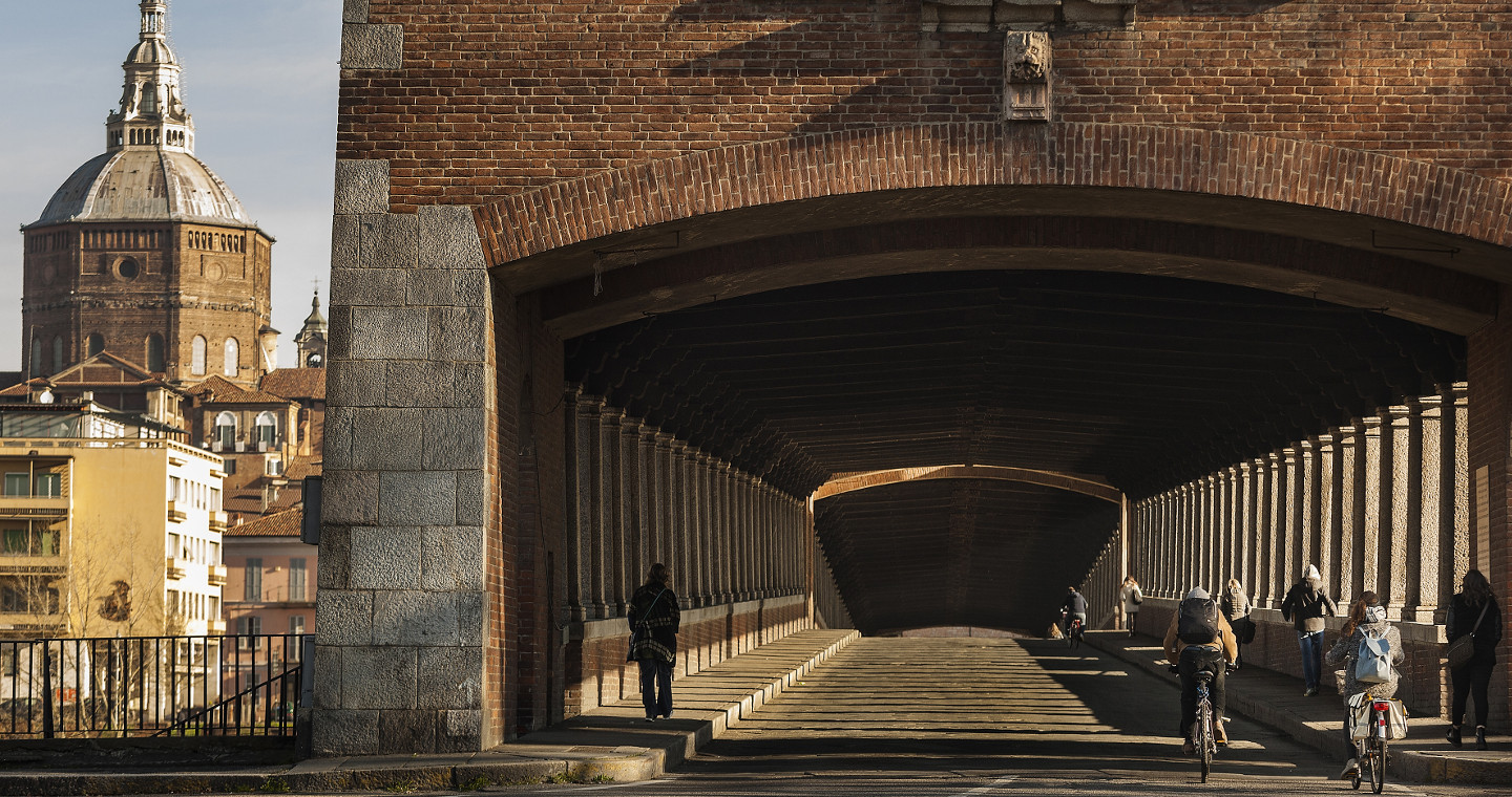 The Covered Bridge towards the historic center of Pavia
