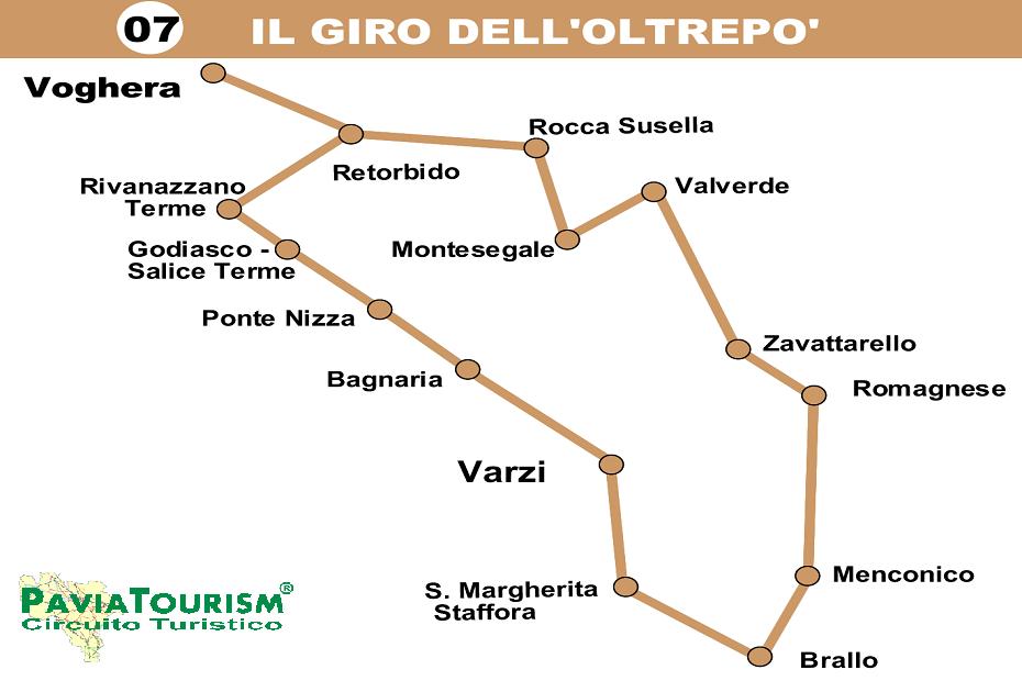 L'itinerario si svolge nelle zone collinari e montane dell' Oltrepò Pavese. Partiamo da Voghera i cui primi insediamenti risalgono al Neolitico dovuti, probabilmente, al clima mite e alla presenza di corsi d'acqua....
