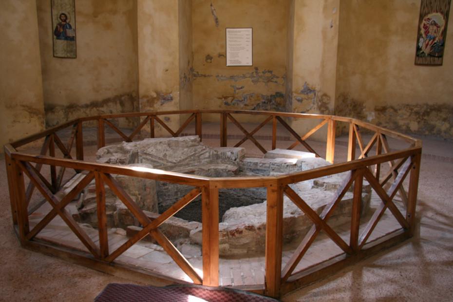 The exagonal baptismal font